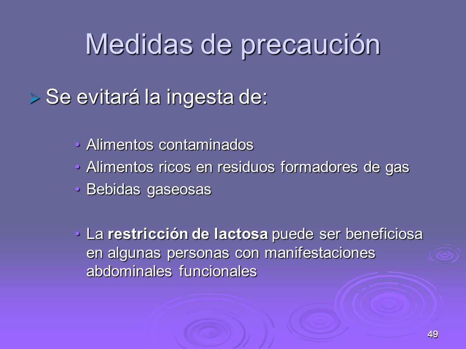 Medidas de precaución Se evitará la ingesta de: Alimentos contaminados