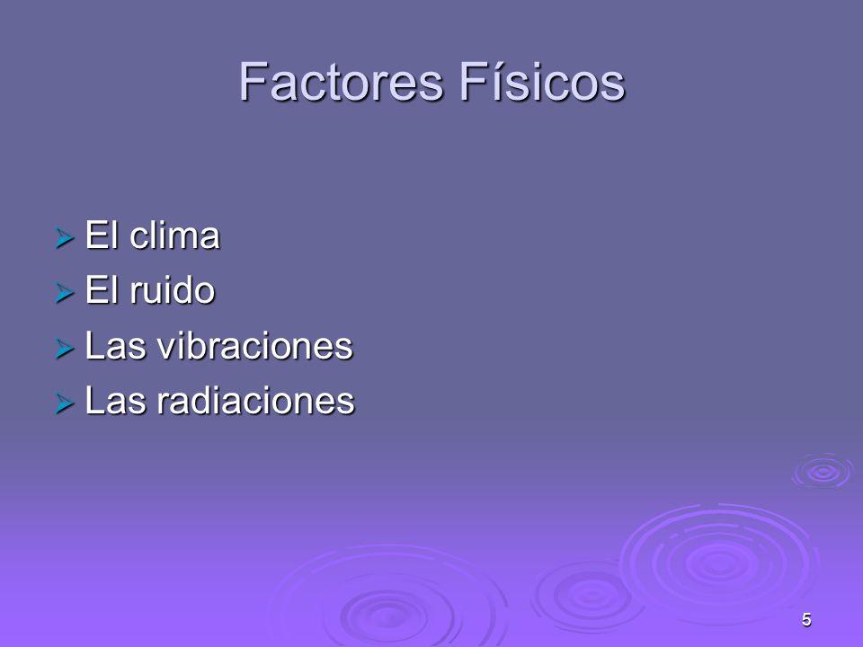 Factores Físicos El clima El ruido Las vibraciones Las radiaciones