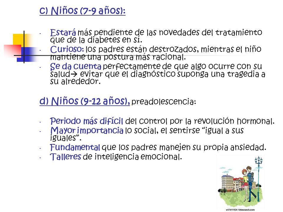 d) Niños (9-12 años), preadolescencia: