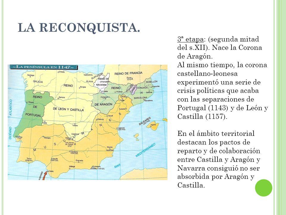 LA RECONQUISTA. 3ª etapa: (segunda mitad del s.XII). Nace la Corona de Aragón.