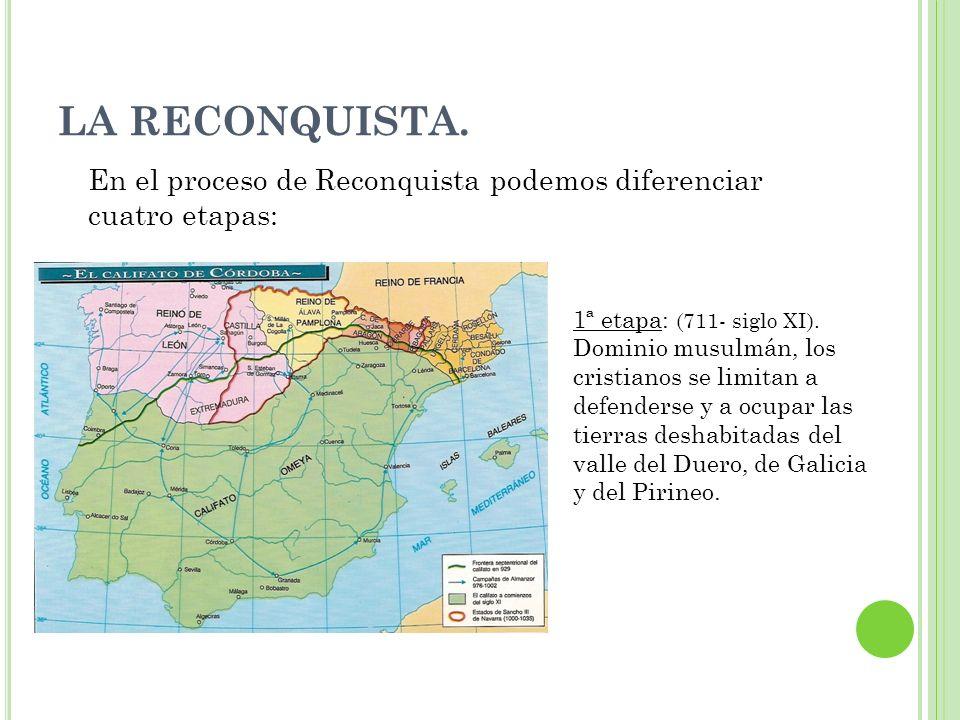 LA RECONQUISTA. En el proceso de Reconquista podemos diferenciar cuatro etapas: