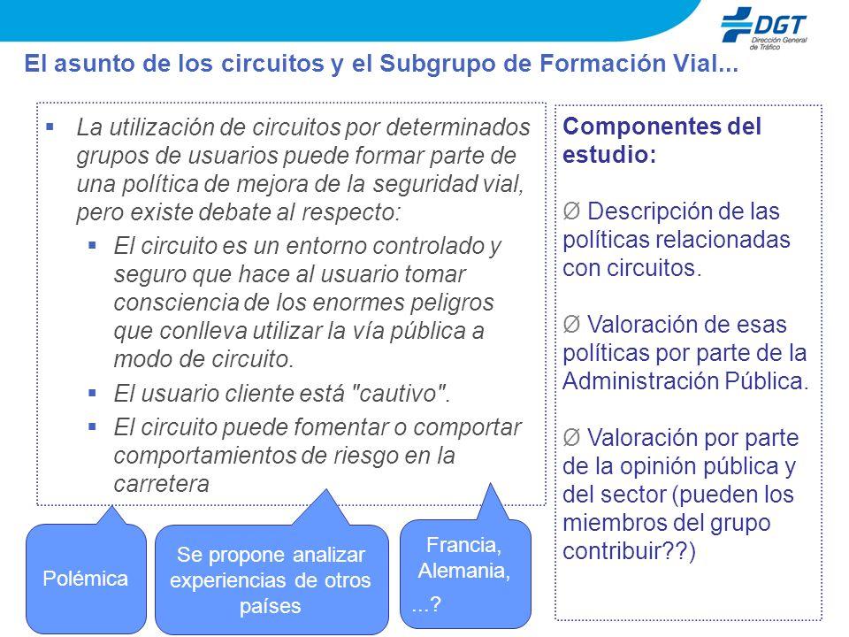 El asunto de los circuitos y el Subgrupo de Formación Vial...