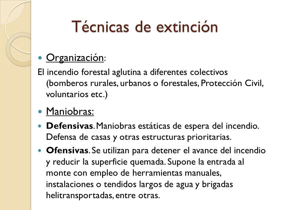 Técnicas de extinción Organización: Maniobras: