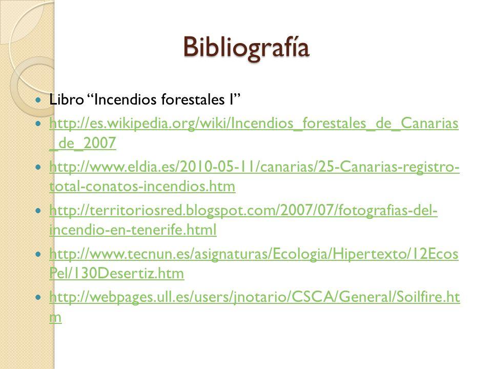 Bibliografía Libro Incendios forestales I