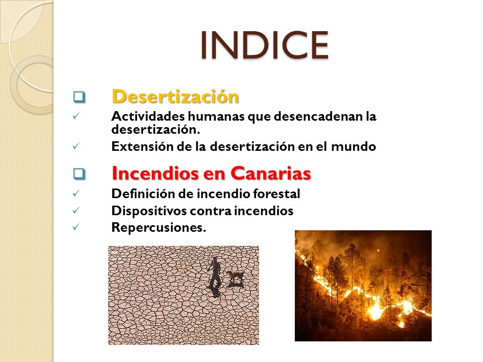 INDICE Desertización Incendios en Canarias