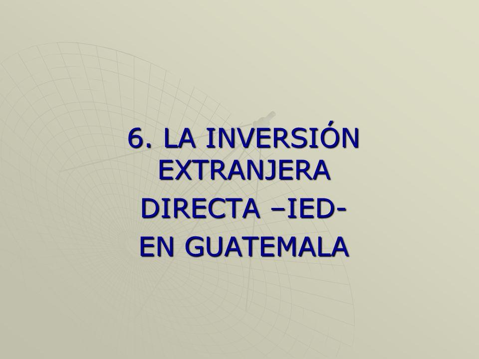 6. LA INVERSIÓN EXTRANJERA DIRECTA –IED- EN GUATEMALA