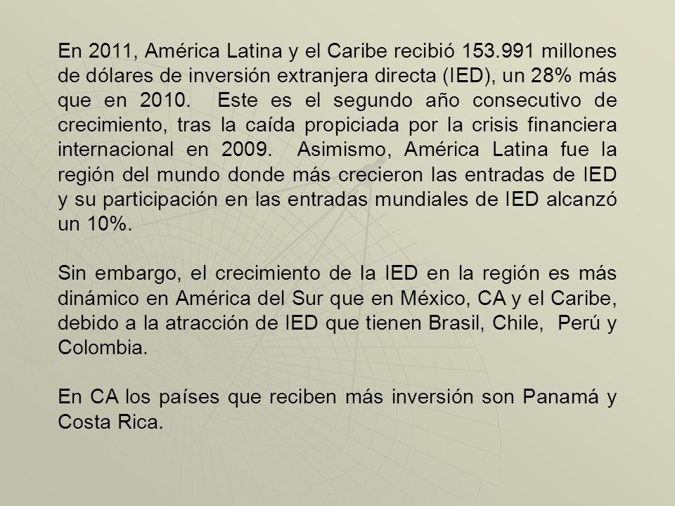 En 2011, América Latina y el Caribe recibió 153