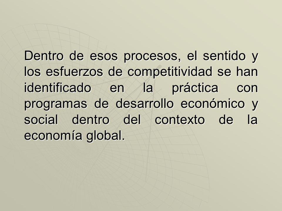 Dentro de esos procesos, el sentido y los esfuerzos de competitividad se han identificado en la práctica con programas de desarrollo económico y social dentro del contexto de la economía global.