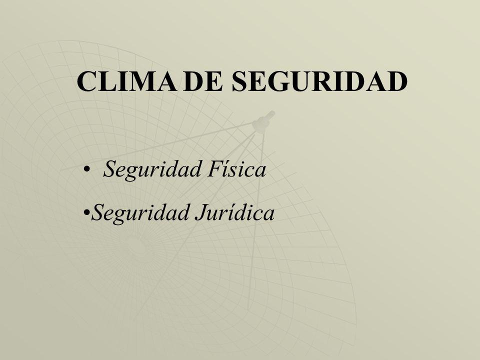 CLIMA DE SEGURIDAD Seguridad Física Seguridad Jurídica