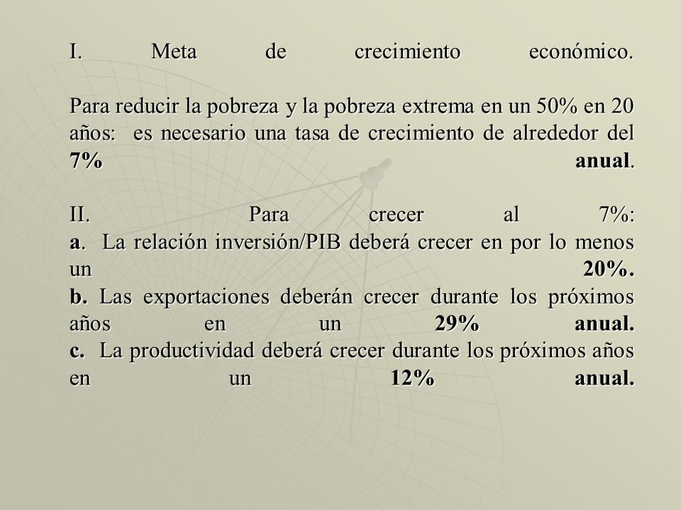 I. Meta de crecimiento económico
