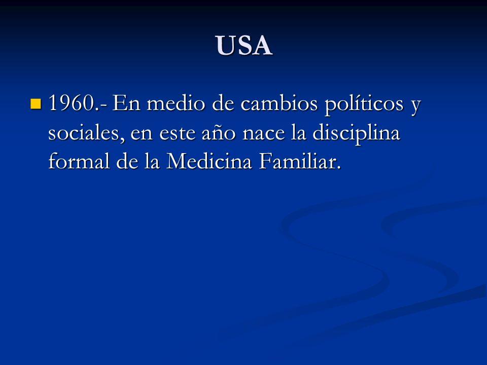 USA1960.- En medio de cambios políticos y sociales, en este año nace la disciplina formal de la Medicina Familiar.