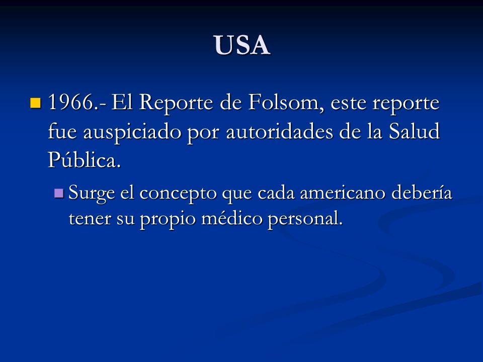 USA1966.- El Reporte de Folsom, este reporte fue auspiciado por autoridades de la Salud Pública.