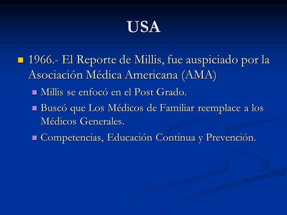 USA1966.- El Reporte de Millis, fue auspiciado por la Asociación Médica Americana (AMA) Millis se enfocó en el Post Grado.