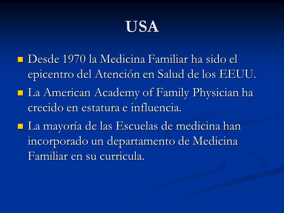 USADesde 1970 la Medicina Familiar ha sido el epicentro del Atención en Salud de los EEUU.