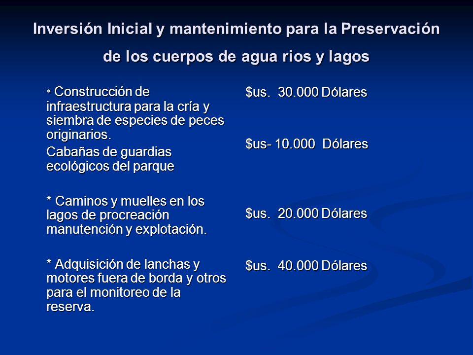 Inversión Inicial y mantenimiento para la Preservación de los cuerpos de agua rios y lagos
