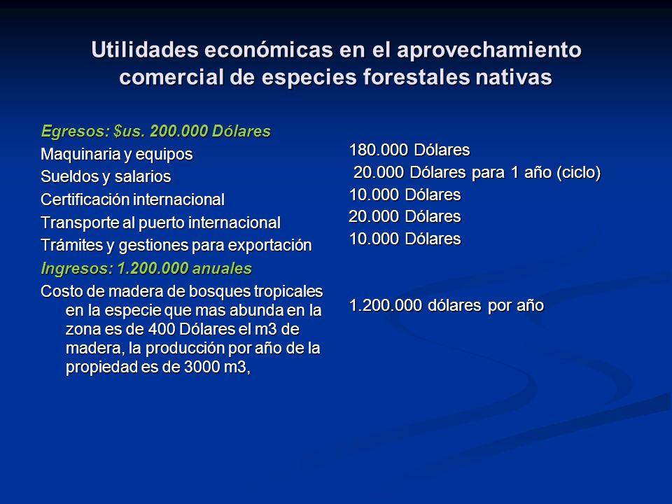 Utilidades económicas en el aprovechamiento comercial de especies forestales nativas
