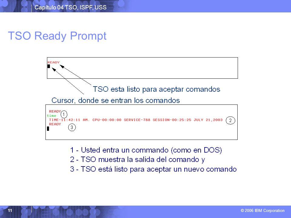 TSO Ready Prompt El 'READY prompt' acepta comandos de línea simples como HELP, RENAME, ALLOCATE y CALL.