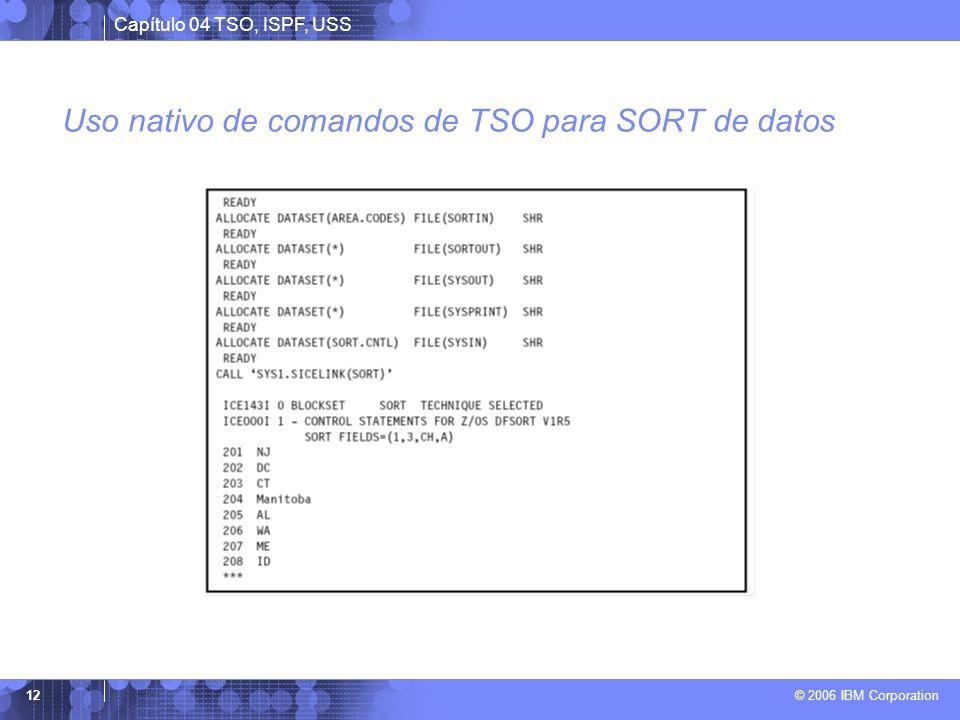 Uso nativo de comandos de TSO para SORT de datos
