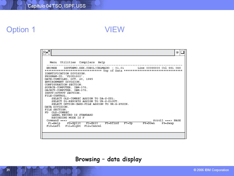 Browsing – data display