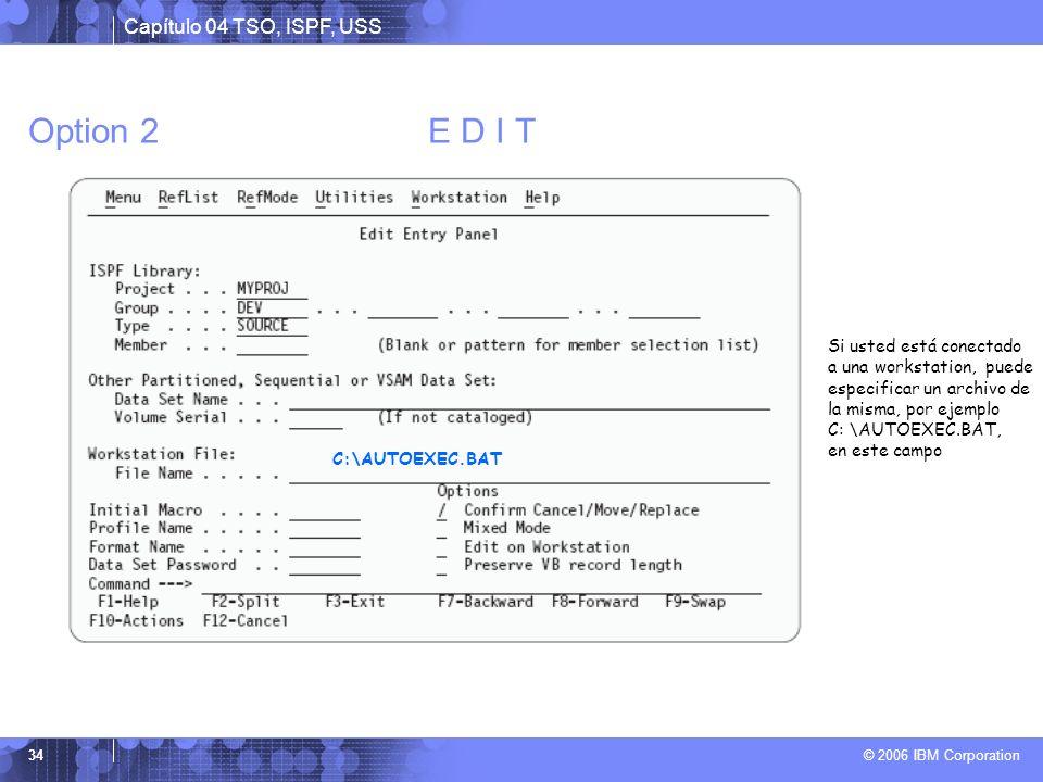 Option 2 E D I T Si usted está conectado a una workstation, puede especificar un archivo de la misma, por ejemplo.