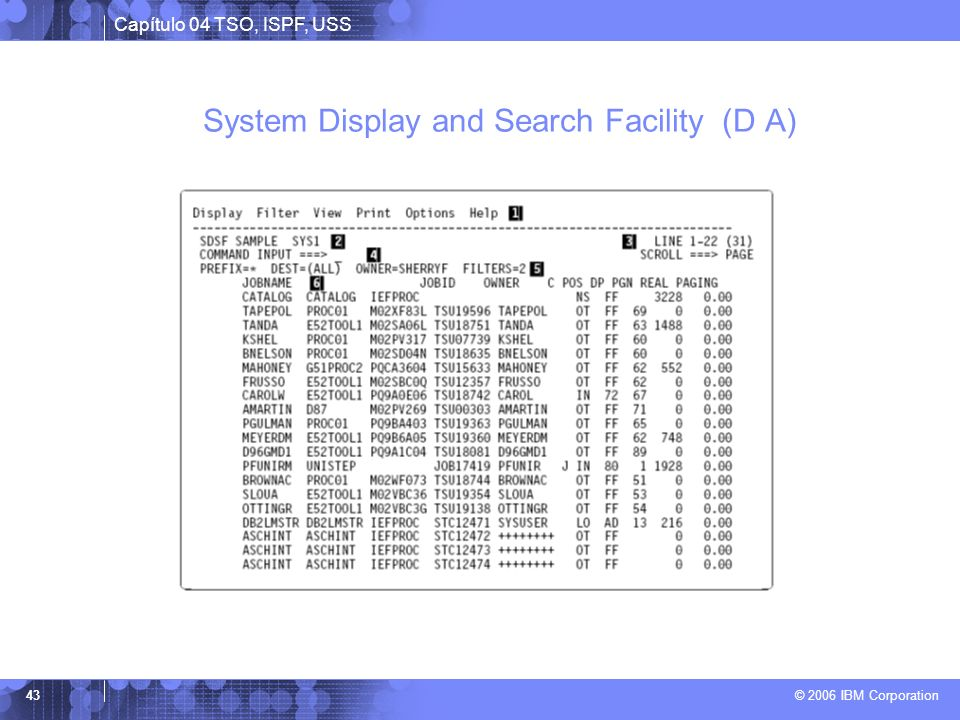 System Display and Search Facility (D A)
