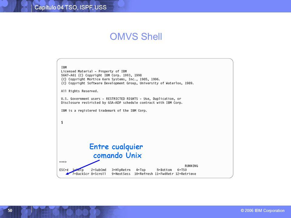 OMVS Shell Entre cualquier comando Unix
