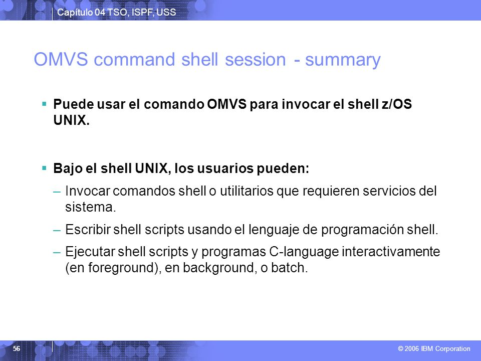 OMVS command shell session - summary