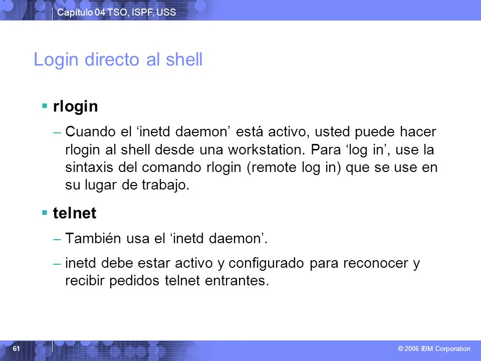 Login directo al shell rlogin telnet
