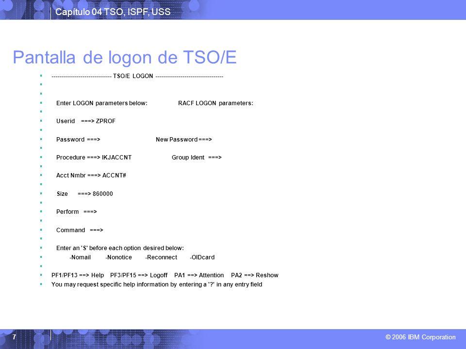 Pantalla de logon de TSO/E