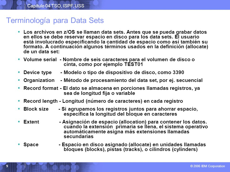 Terminología para Data Sets