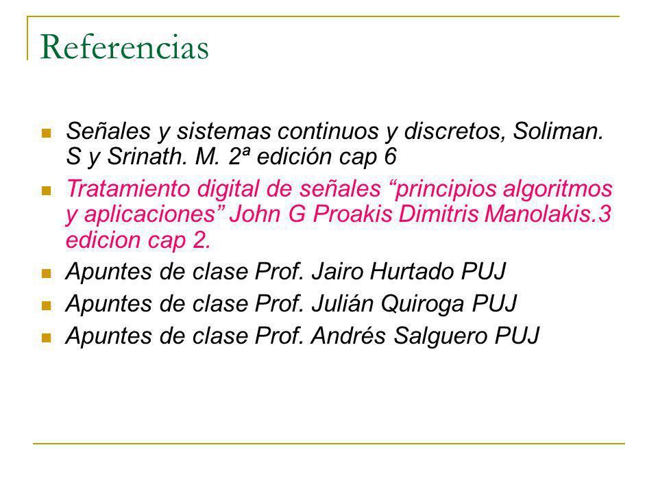 Referencias Señales y sistemas continuos y discretos, Soliman. S y Srinath. M. 2ª edición cap 6.