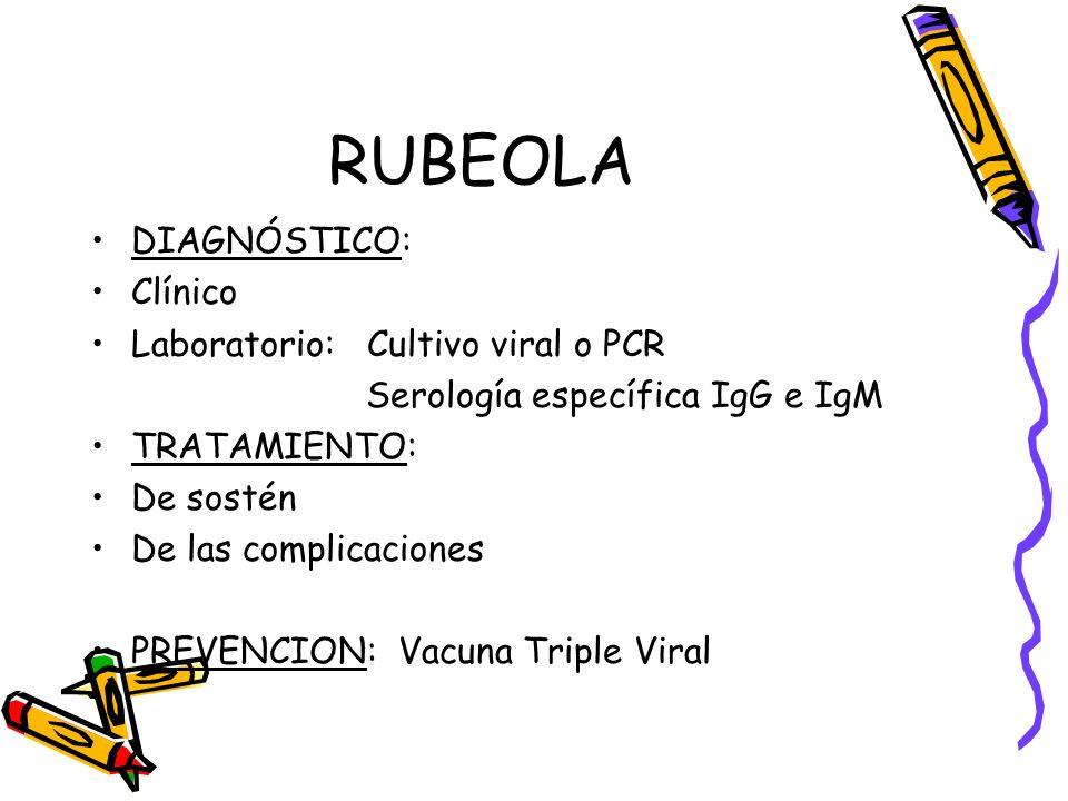 RUBEOLA DIAGNÓSTICO: Clínico Laboratorio: Cultivo viral o PCR
