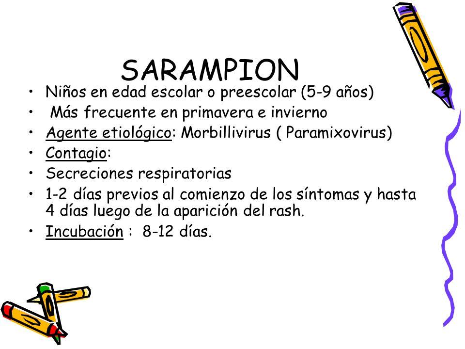 SARAMPION Niños en edad escolar o preescolar (5-9 años)