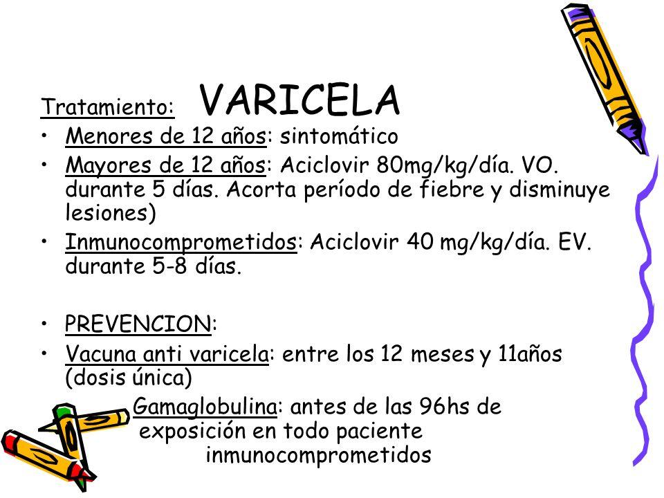 VARICELA Tratamiento: Menores de 12 años: sintomático