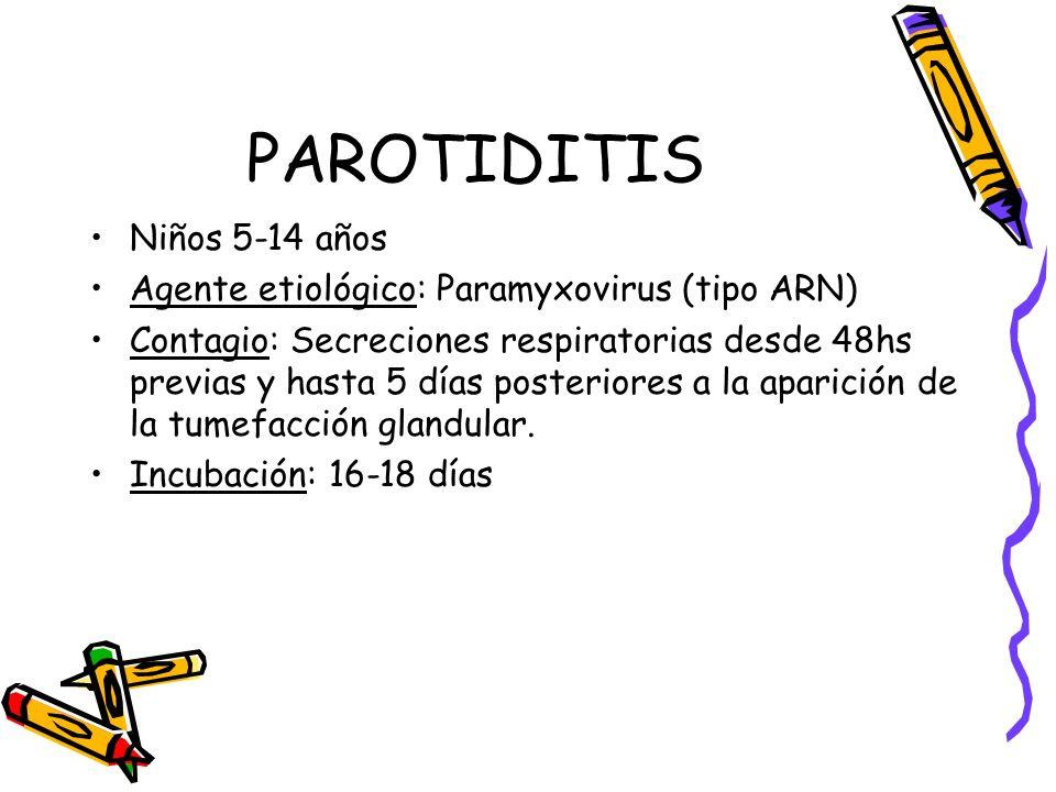 PAROTIDITIS Niños 5-14 años