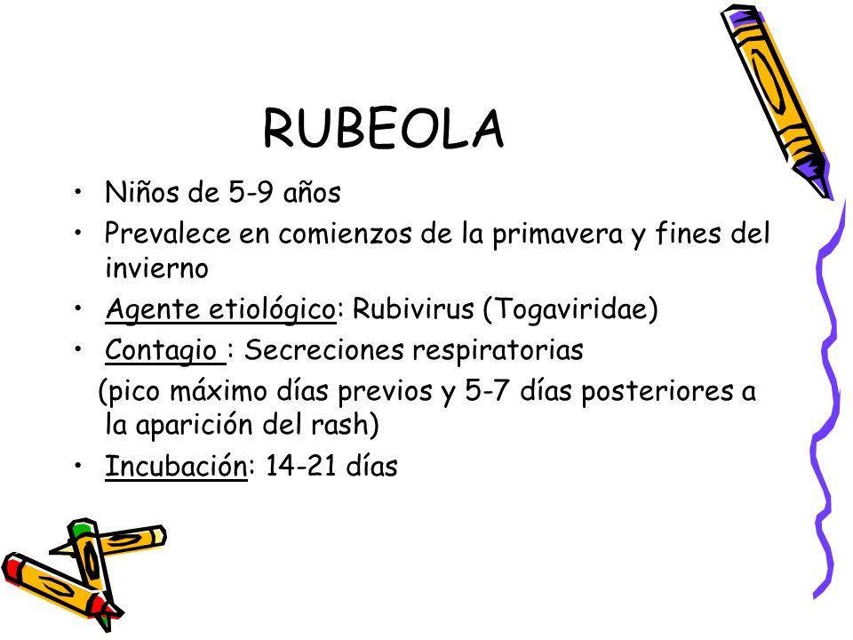 RUBEOLA Niños de 5-9 años. Prevalece en comienzos de la primavera y fines del invierno. Agente etiológico: Rubivirus (Togaviridae)