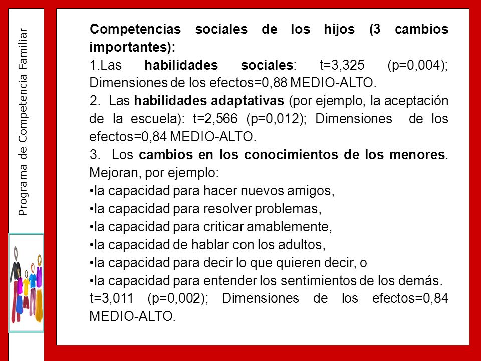 Competencias sociales de los hijos (3 cambios importantes):