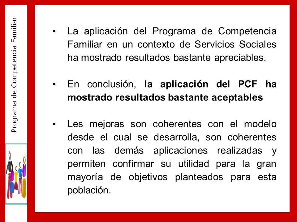 La aplicación del Programa de Competencia Familiar en un contexto de Servicios Sociales ha mostrado resultados bastante apreciables.