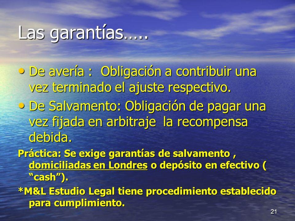 Las garantías….. De avería : Obligación a contribuir una vez terminado el ajuste respectivo.