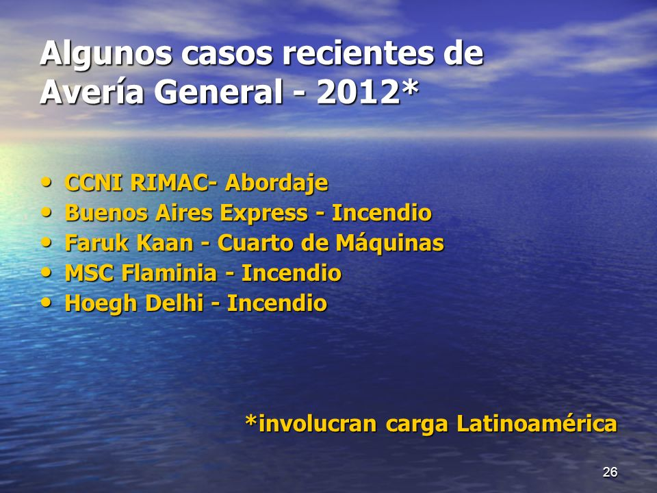 Algunos casos recientes de Avería General - 2012*