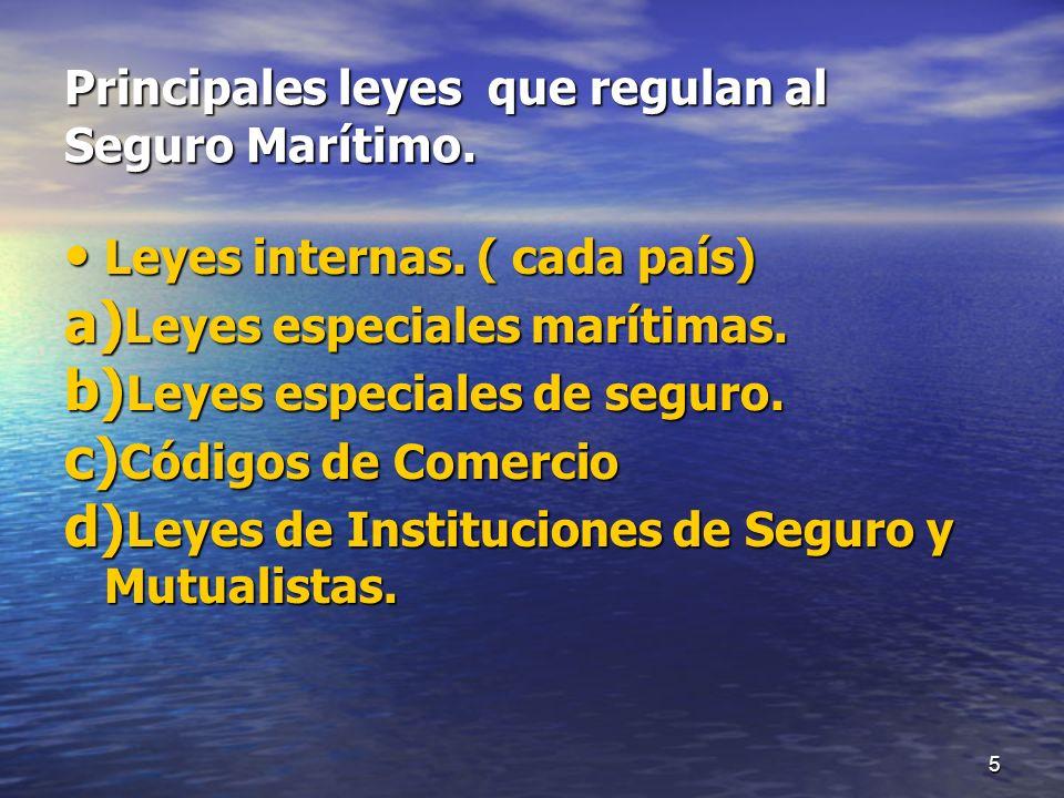 Principales leyes que regulan al Seguro Marítimo.