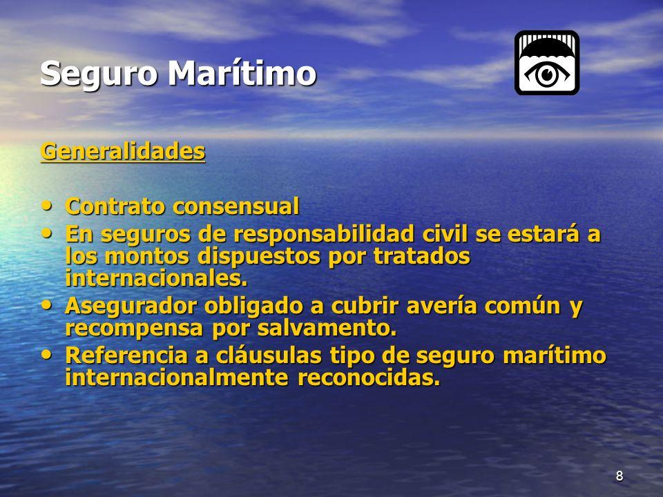 Seguro Marítimo Generalidades Contrato consensual