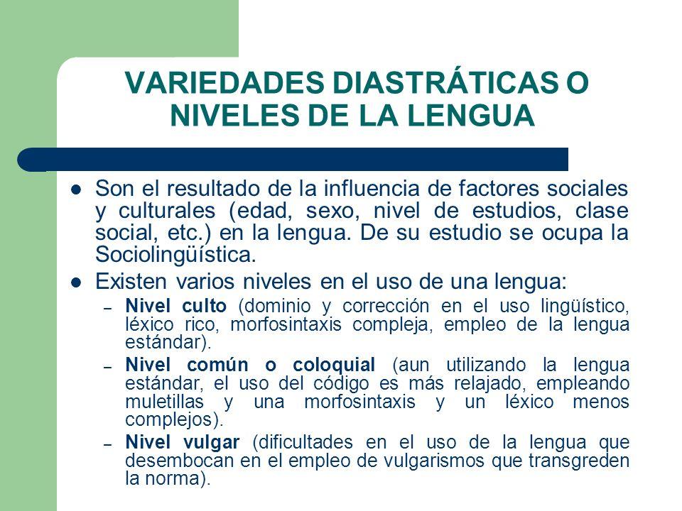 VARIEDADES DIASTRÁTICAS O NIVELES DE LA LENGUA