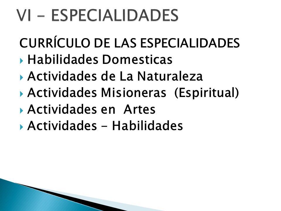 VI - ESPECIALIDADES CURRÍCULO DE LAS ESPECIALIDADES