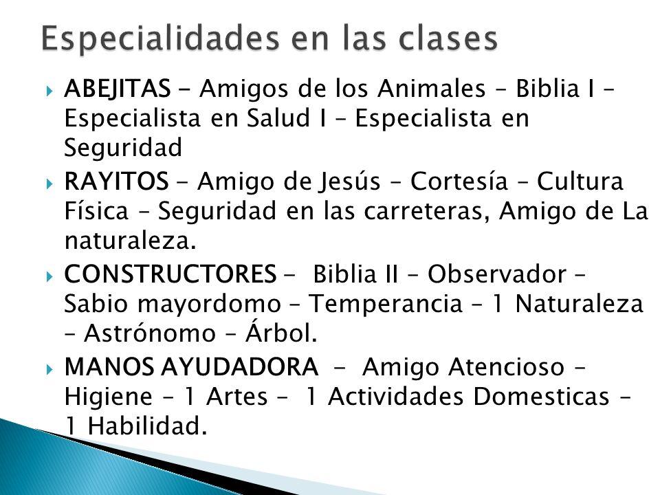 Especialidades en las clases