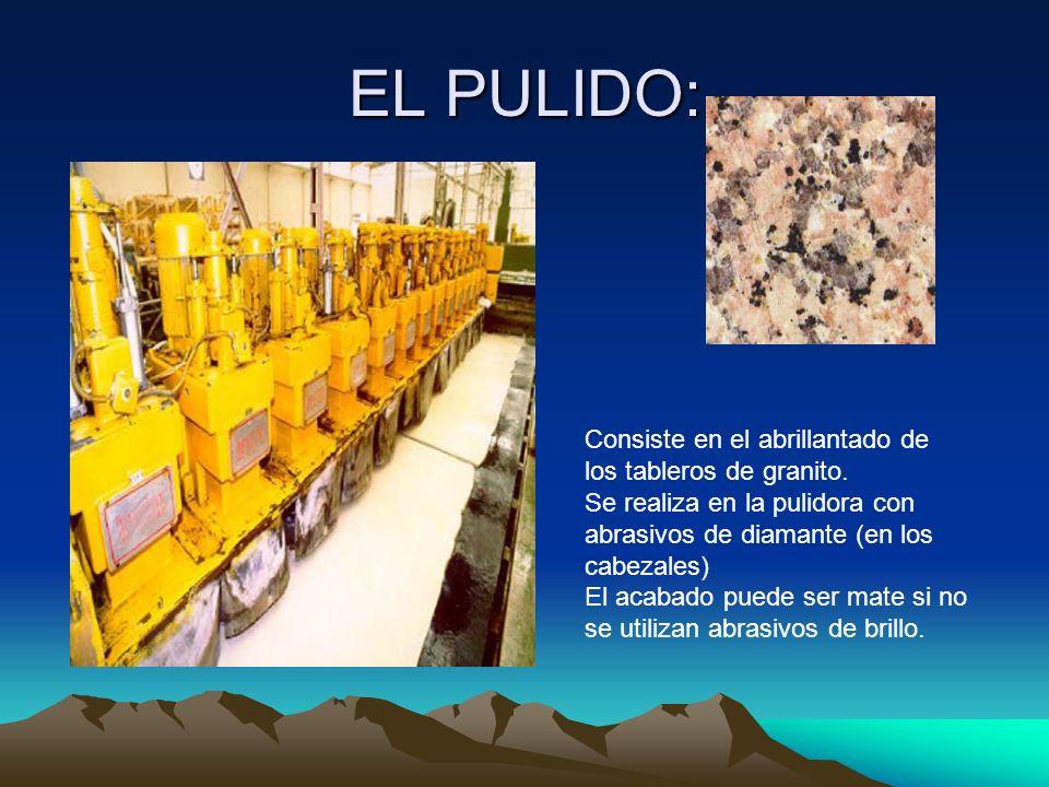 EL PULIDO: Consiste en el abrillantado de los tableros de granito.