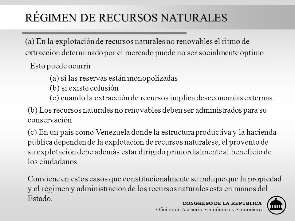 RÉGIMEN DE RECURSOS NATURALES