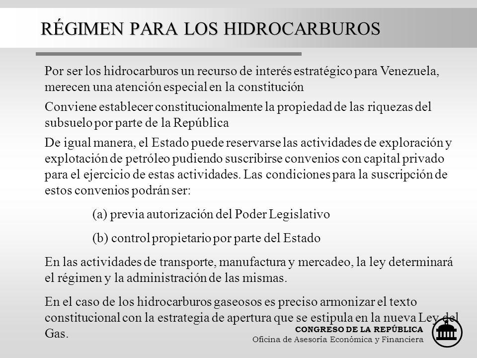 RÉGIMEN PARA LOS HIDROCARBUROS