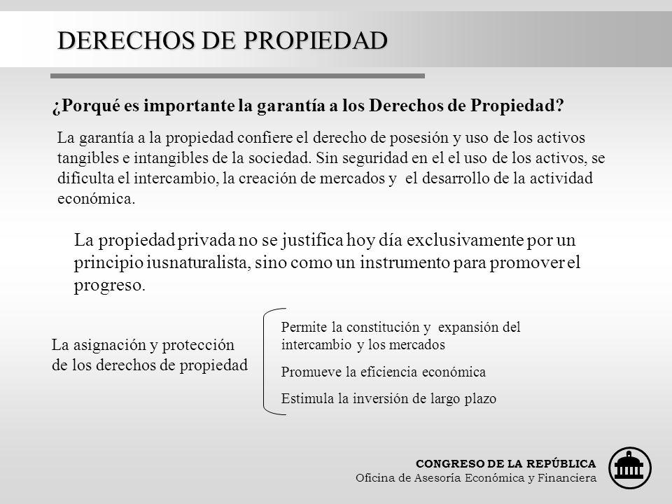 DERECHOS DE PROPIEDAD ¿Porqué es importante la garantía a los Derechos de Propiedad