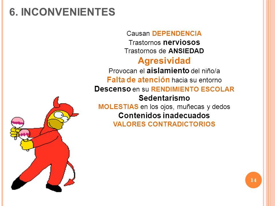 Contenidos inadecuados VALORES CONTRADICTORIOS